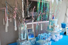 Frozen dessert table with a rock candy ice tree!