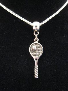 Tennis racket key ring keyring gift souvenir wimbledon rackets tennis racquet ball atp us open wimbledon silver chain necklace pendant charm mozeypictures Choice Image
