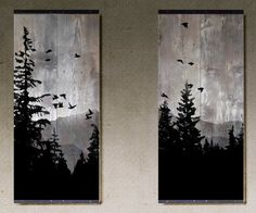 Mountain View Set of 2 Paintings on Reclaimed Barn Wood