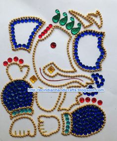 Ganesh - Bead Work And Kundan Work Thali Decoration Ideas, Diy Diwali Decorations, Kalash Decoration, Board Decoration, Rangoli Ideas, Rangoli Designs, Art Drawings For Kids, Art For Kids, Diy Arts And Crafts