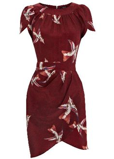 Warehouse bird print dress ~   The ladylike look is still going strong. Opt for classic elegance with Warehouse's burgundy wrap dress adorned with a pretty swallow print.