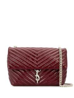 REBECCA MINKOFF EDIE SHOULDER BAG. #rebeccaminkoff #bags #shoulder bags #leather Dark Red, World Of Fashion, Luxury Branding, Rebecca Minkoff, Red Leather, Women Wear, Chain, Shoulder Bags, Silver