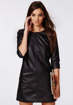 €32,49 - Bree PU Shift Dress Black - Missguided