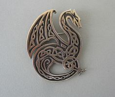 "My newest dragon design! This bronze dragon is available as either a brooch or a pendant.  It measures 2"" by 1 3/4"" Dragons & Such at MasterArk.com"