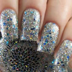 Woke Up on Street - Black Dahlia Vegan Nail Lacquer Gold Glitter Nail Polish, Sparkle Nails, Glittery Nails, Black Dahlia, Glitter Bomb, Blue Nails, Nails Inspiration, Nail Colors, Nail Art Designs