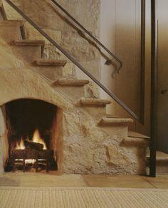 Stair space fireplace; John Saladino