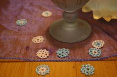 10 Beaded Flowers Table Confetti; Peach Orange, Light Blue; Table Decor; Table Scatter; Wedding Confetti; Party Confetti