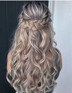 Gorgeous Hairs Blonde Wedding Hairstyles For Long Hair, Fancy Hairstyles, Prom Hairstyles Half Up Half Down, Hairstyle Wedding, Braided Half Up Half Down Hair, Everyday Hairstyles, Homecoming Hairstyles, Summer Hairstyles, Half Up Curls