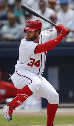 9. Bryce Harper  -  Bryce Aron Max Harper is an American professional baseball right fielder for the Washington Nationals of Major League Baseball. He stands 6 feet 3 inches tall and weighs 230 pounds.