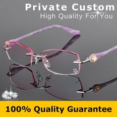 Personal Customized Rimless Eyeglasses Women Fashion Glasses Lady Myopic Prescription Glasses Reading Rhinestone Decorations 616. Yesterday's price: US $75.90 (65.60 EUR). Today's price: US $39.47 (34.25 EUR). Discount: 48%.