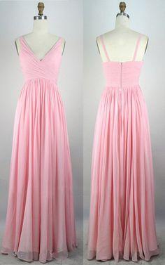 Pink Empire V Neck Chiffon Floor Length Sleeveless Ruffles Long Prom Dress