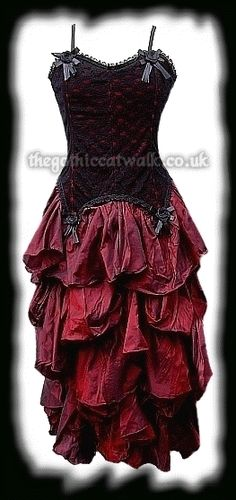 Gothic Clothing Red Lace & Silk Long Dress  Something Karine Would wear ;D