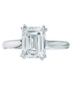 Harry Winston Solitaire Emerald-Cut Engagement Ring