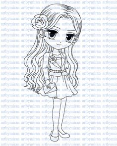 Digital Stamp-Girl Friday, Digi Stamp, Coloring page, Printable Line art for Card and Craft Supply, Art by Mi Ran Jung
