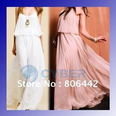 Korea Women's Boho Sexy Ruffle Elegant Chiffon Maxi Long Dress 4 Colors + Free Shipping
