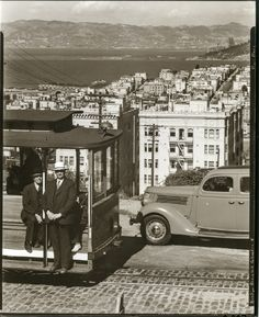 Looking East on Hyde & Lombard, San Francisco, Berkeley Hills in the Background (1938) via OpenSFHistory