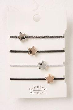 Womens FatFace Star Hair Tie Four Pack - Black