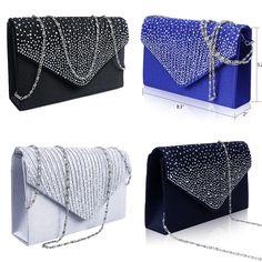 New Ladies Diamante Party Prom Bridal Evening Clutch Bag Purse Envelope Handbag