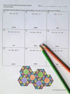 This is a fun coloring activity with 9 questions. The student solves the equation, finds the solution in the tessellation design and colors it. In addition to using the distributive property, the student will need to also combine like terms in order to so