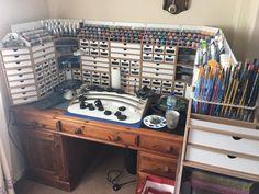 HobbyZone& Modular Workshop System for Dense, Compact Organization of Tools. Hanging Garage Shelves, Diy Garage Storage, Storage Ideas, Garage Organization, Garage Shelf, Painting Station, Hobby Desk, Hobby Tools, Hobby Cnc