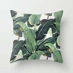 Tropical Banana Leaf Print Throw Pillow by Chloe Vaux - $20.00