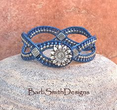 Blue Denim Silver Beaded Leather Cuff Wrap Bracelet