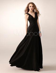 Schwarzes Abendkleid mit V-Ausschnitt und Cutouts - Milanoo.com