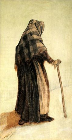 Vincent van Gogh: Old Woman with a Shawl and Walking-stick.  Drawing: Pencil, pen in brown (originally brown) ink, opaque light green watercolour, on woven paper.  The Hague: March, 1882.  Amsterdam: Van Gogh Museum.