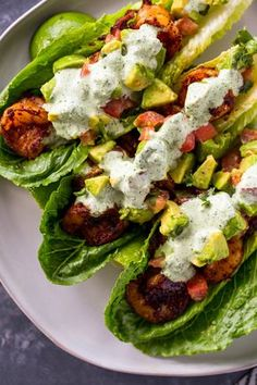 Lettuce wraps filled with tender spicy shrimp, avocado & tomato salsa and topped with a spicy jalapeno cilantro sauce. This flavor-packed tacos are low-carb and keto and make an AMAZING lunch or dinner Shrimp Lettuce Wraps, Spicy Shrimp Tacos, Lettuce Tacos, Lettuce Wrap Recipes, Shrimp Avocado Salad, Lettuce Cups, Best Lettuce For Wraps, Meals With Shrimp, Healthy Lettuce Wraps