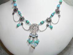 Pendant Necklace in Turquoise Shades with by judysmithdesigns, $28.95