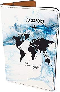 SUPERTRAMPshop World Map Great Adventure Leather Business Passport Holder Protector Cover