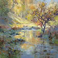 British Artist Rex PRESTON - Autumn Sunlight, Biggin Dale
