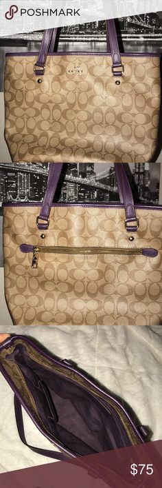 Coach Full Zip Top Monogram Bag Beautiful beige monogram with plum handles Coach bag!  One outside zip pocket and three interior pockets! Very minor loose thread damage on one of the inner pockets (pictured) Coach Bags Shoulder Bags