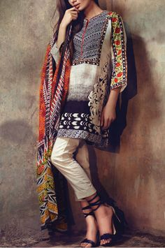 Buy Black/Off-White Embroidered Cotton Lawn Dress by Sana Safinaz Eid Collection 2015.