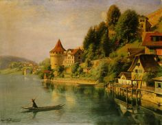 The Nolliturm by Joseph Clemens Kaufmann. The right river bank between mill square and Nolliturm Tower.ch - The other Lucerne city tour. River Bank, Joseph, Tower, City, Ali, Pictures, Painting, Lucerne, Drawing Pictures