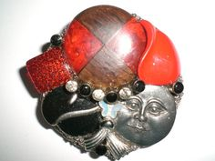 Collage Brooch of Red Black and Silver Jewelry Pieces