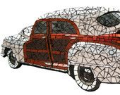 """1948 WOODIE Chrysler Town & Country Stained Glass Mosaic Tile Classic Car Art 19"""" x 9"""" FREE U.S. Shipping"""