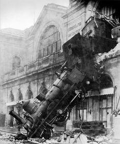 Photo by Henri Roger-Viollet (1869-1946)  braking misadventure at Gare Montparnasse 1895
