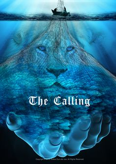 The calling, Lion of Judah cast your nets, He will make you fishers of men. Prophetic Art painting.