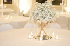 simple and elegant winter white wedding Baby's Breath