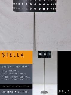 Luminaria de Techo modelo STELLA CÓDIGO : 001-0034 TIPO : Lámpara de pie SOCKET : E27  FOCO : 1 unidad de máximo 60w MATERIAL : Pantalla de tela perforada / metal  DIMENSIONES : 0.40 L x 0.40 A x 1.50 H