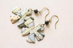 Flower Shaped Tin Earrings Flower Jewelry by MusingTreeStudios, $15.99
