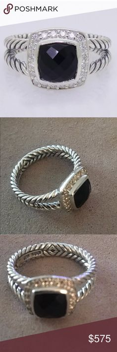 David Yurman Black Onyx Petite Albion Ring David Yurman Black Onyx & Sterling Petite Albion Ring • Size 6.5 • Beautiful Black Onyx and diamonds set in sterling with David Yurman 925 hallmark. David Yurman pouch included. David Yurman Jewelry Rings
