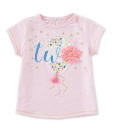 Mud Pie Little Girls Short-Sleeve Birthday Tee - Pink Little Girl Fashion Clothes, 2t Girl Clothes, Toddler Fashion, Kids Fashion, Kids Girls Tops, Girls Fleece, Kids Prints, Personalized T Shirts, Summer Shirts