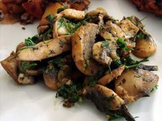 Danished Glazed Mushrooms from Food.com:   								Can be served as a hot appetizer or side dish.   Many reviewers have commented that they have found the herb amounts to be too much, so you may want to reduce them according to your own tastes.  Originally submitted for the 2005 World Tour.