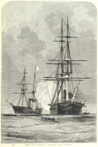 "On this day in 1861, USS San Jacinto fires shots at a British mail steamer, the RMS Trent. The captain seizes two Confederate emissaries who were aboard. The so-called ""Trent Affair"" nearly provoked a war between the United States and Great Britain! Can you imagine? What if Union forces had been at war with the Confederacy and Great Britain simultaneously? Abraham Lincoln certainly did not want that!"