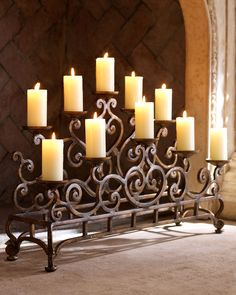 Ambella Fireplace Candelabrum -  Great decor idea when it too warm outside to use the fireplace.