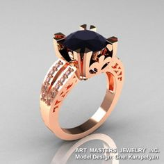 Modern Vintage 14K Rose Gold 3.0 Ct Black Moissanite Diamond Solitaire Ring R102-14KRGDBM