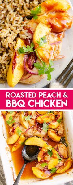 Roasted Peach BBQ Chicken Bake is an easy and healthy 5 ingredient dinner recipe made in just 30 minutes and bursting with sweet and savory flavors! Easy Family Dinners, Quick Easy Meals, Easy Dinner Recipes, Family Meals, Breakfast Recipes, Weeknight Dinners, Summer Recipes, Easy Recipes, Kitchen Recipes