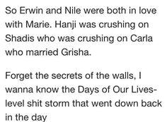 Erwin, Nile, Hanji, Marie,  Shadis, Carla and Grisha love drama in manga